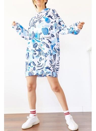 XHAN Mavi & Beyaz Kapüşonlu Oversize Swaetshirt Elbise 0Yxk8-43985-12 Mavi